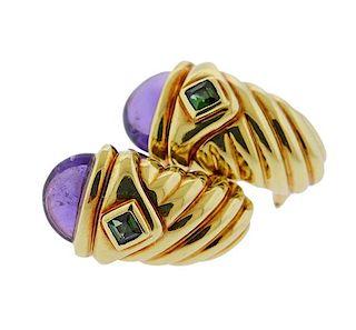 David Yurman 14K Gold Amethyst Tourmaline Earrings