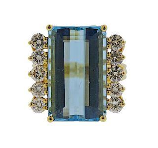 H. Stern 18K Gold Diamond Aquamarine Ring