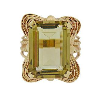 14K Gold Yellow Stone Ring
