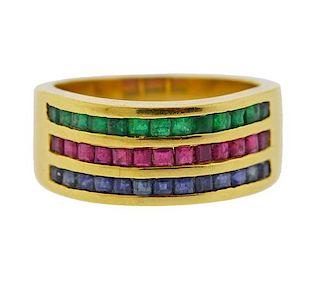 18K Gold Color Gemstone Half Band Ring