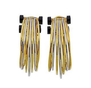 Scavia 18k Gold Onyx Hoop Earrings