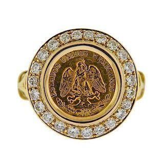 18k Gold Diamond Coin Ring