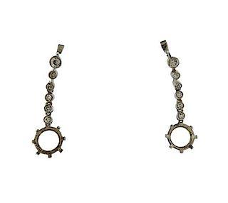 Platinum Diamond Drop Earring Settings