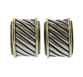 David Yurman 14k Gold Silver Cable Hoop Earrings