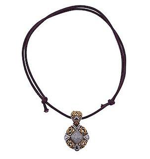 John Hardy 18k Gold Diamond Pendant on Cord Necklace