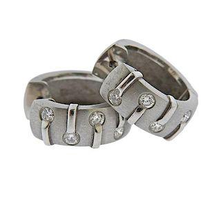 Platinum Diamond Huggie Hoop Earrings