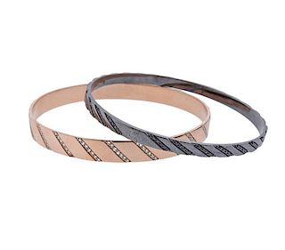 Lana 14K Gold White Black Diamond Bracelet Lot of 2