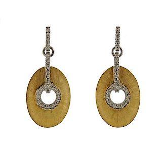 14k Gold Diamond Drop Earrings