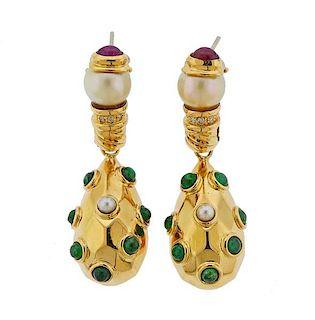 18k Gold Diamond Emerald Pearl Ruby Earrings