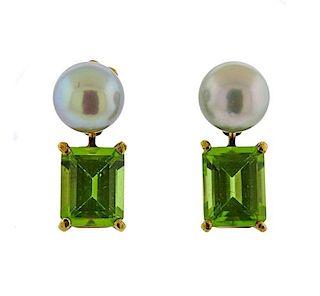 Mish New York 18K Gold Pearl Gemstone Earrings