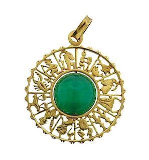 18k Gold Chrysoprase Zodiac Pendant