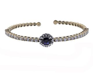 14k Yellow Gold Platinum Diamond Sapphire Bracelet