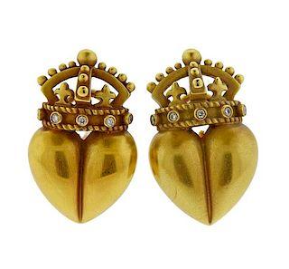 Kieselstein Cord 18K Gold Diamond Crown Heart Earrings