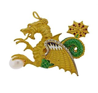 18k Gold Enamel Diamond Pearl Dragon Brooch Pin