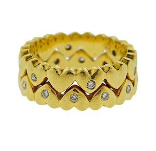 18k Gold Diamond Heart Band Stackable Ring Set