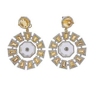 14k Gold 4.60ctw Diamond Citrine Crystal Earrings