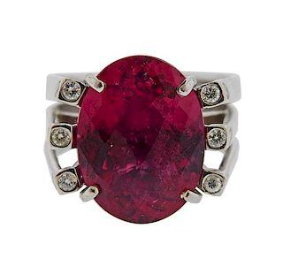 18K Gold Diamond Tourmaline Ring