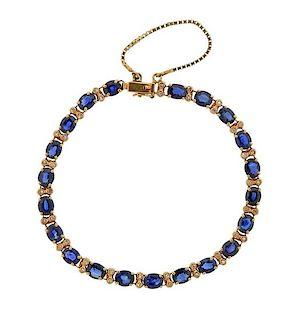14k Gold Diamond Blue Stone Bracelet