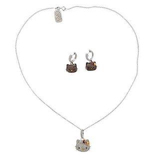 Sanrio Hellow Kitty 18K Gold Silver Diamond Enamel Earrings Necklaces Set
