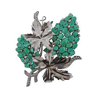 14k Gold Emerald Diamond Grape Vine Brooch