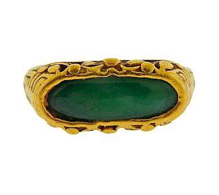 24k Gold Jade Ring