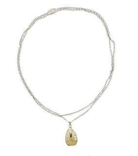 14K Gold Silver Diamond Pendant Necklace