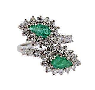 18K Gold Diamond Emerald Crossover Ring