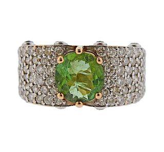 21K Gold Diamond Green Stone Ring
