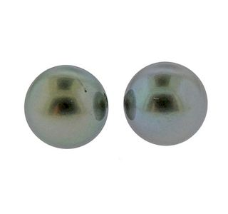14K Gold South Sea Tahitian Pearl  Earrings