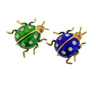 18K Gold Diamond Enamel Bug Brooch Pin Lot of 2