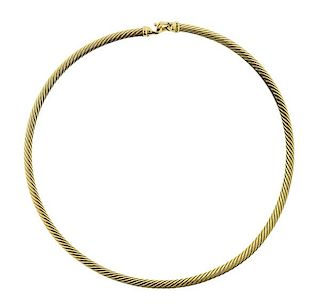 David Yurman 18k Gold Cable Necklace