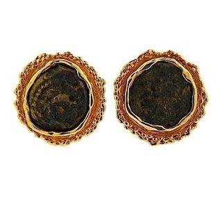 14K Gold Coin Earrings