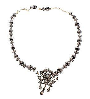 18k Gold Silver Rose Cut Diamond Necklace