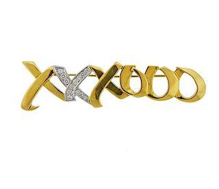 Tiffany & Co Picasso Graffiti Gold Platinum Diamond XO Brooch