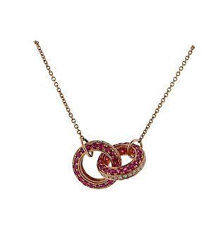 14k Rose Gold Ruby Diamond Pendant Necklace