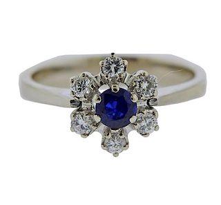 14k Gold Diamond Sapphire Flower Ring