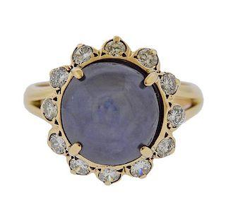 14ct Star Sapphire Cabochon Diamond 14k Gold