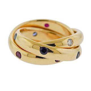 Cartier Trinity 18k Gold Diamond Sapphire Ruby Band Ring
