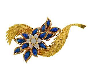 18k Gold Opal Enamel Flower Brooch Pin