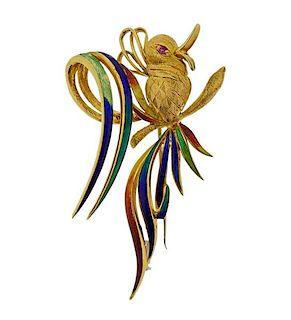 18k Gold Enamel Ruby Bird Brooch Pin