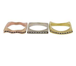 18K 14K Tri Color Gold Diamond Ring Lot of 3