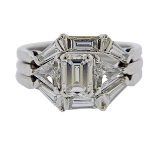 Jabel 18k Gold Emerald Cut Diamond Engagement Bridal Ring