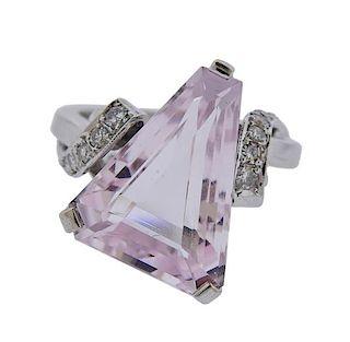 14K Gold Diamond Pink Stone Ring