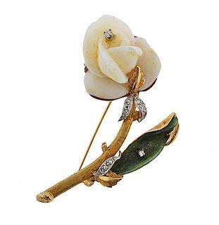 14k Gold Carved Coral Nephrite Diamond Rose Flower Brooch