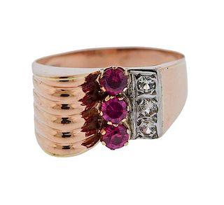Retro 18k Rose Gold Diamond Red Stone Ring