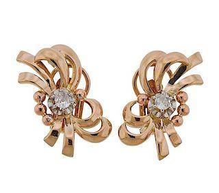 Retro 18k Gold Diamond Earrings