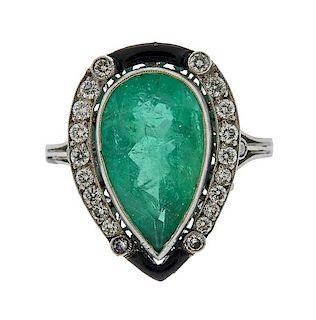 Platinum 4.40ct Pear Emerald Diamond Onyx Ring