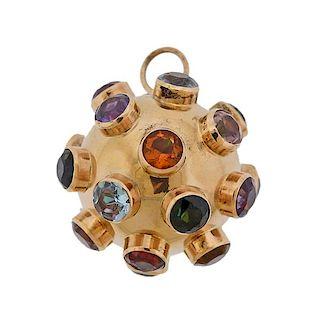 18k Gold Multi Gemstone Sputnik Pendant Charm
