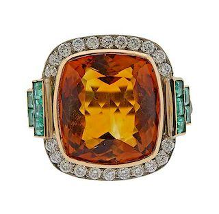 Platinum 20ct Citrine Emerald Diamond Ring