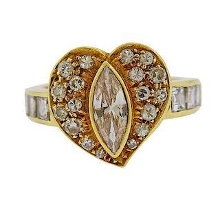 18k Gold Diamond Heart Ring